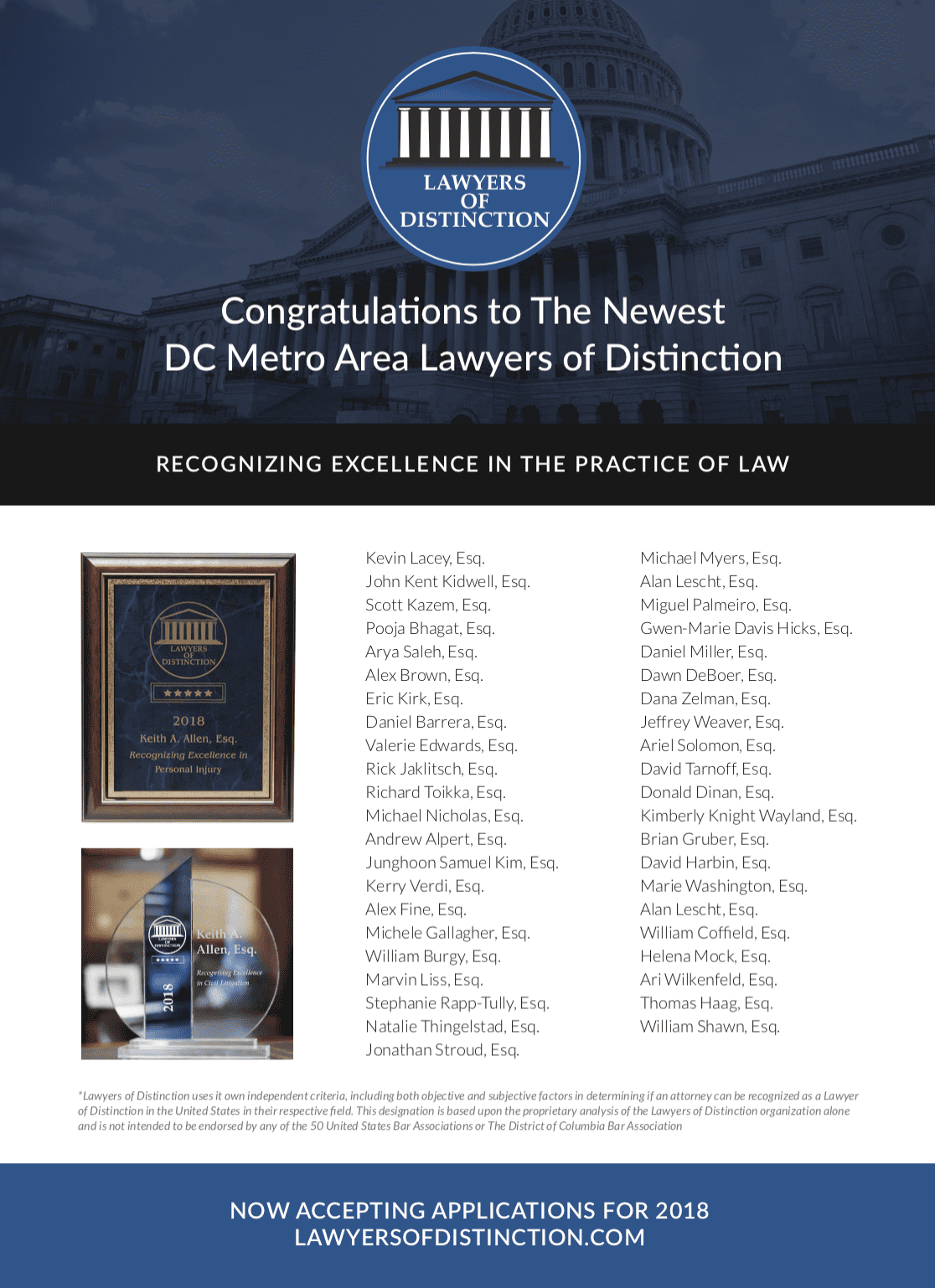 Lawyers of Distinction Featured in Maryland State Bar Journal